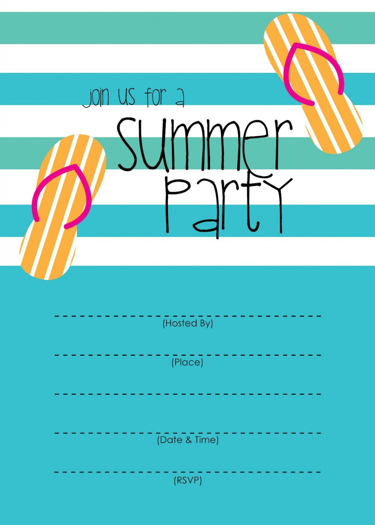 Summer Party Invitation – Free Printable | End Of Year Party Ideas | Free Printable Pool Party Invitation Cards