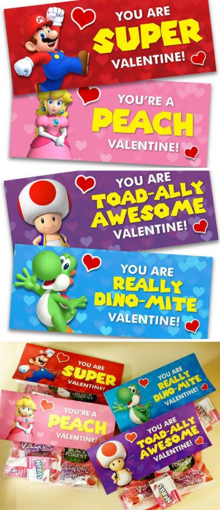 Super Mario Inspired Printable Valentine's Day Cards / Treat Bag | Printable Mario Valentines Cards