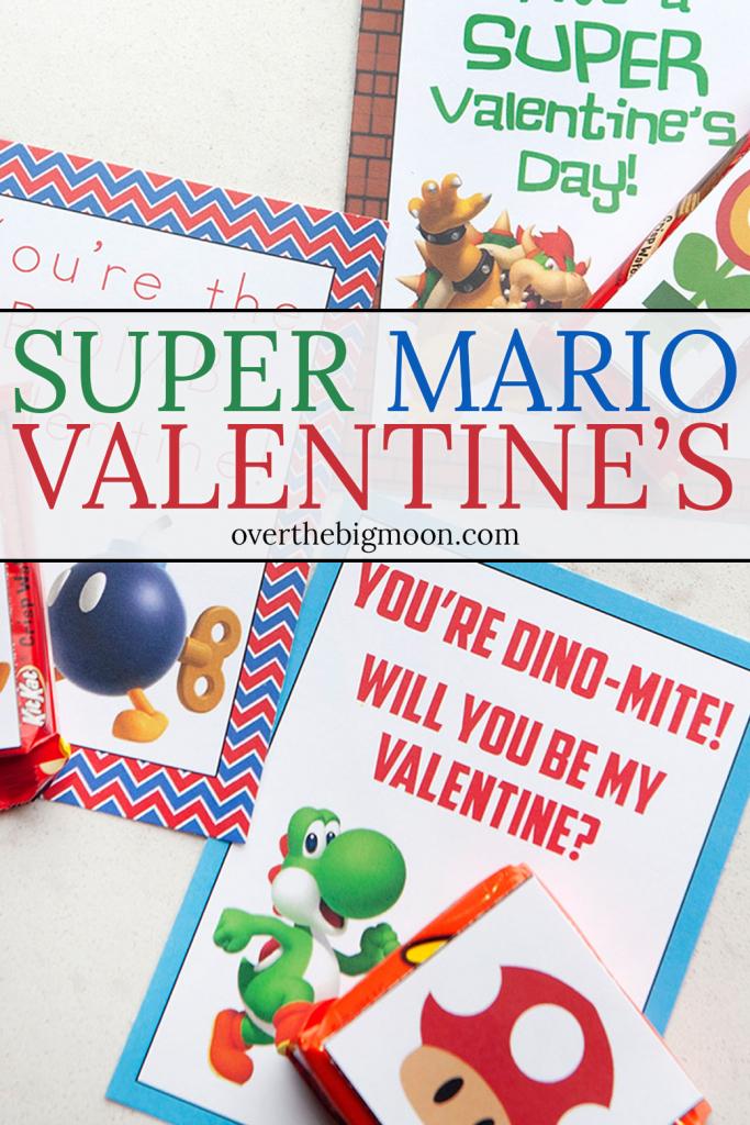 Super Mario Printable Valentines - Over The Big Moon | Printable Mario Valentines Cards