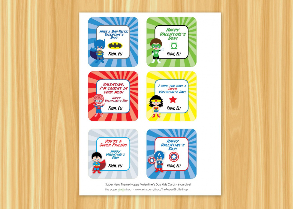 Superhero Valentine Cards For Kids Superman Spiderman   Etsy   Free Printable Superman Valentine Cards