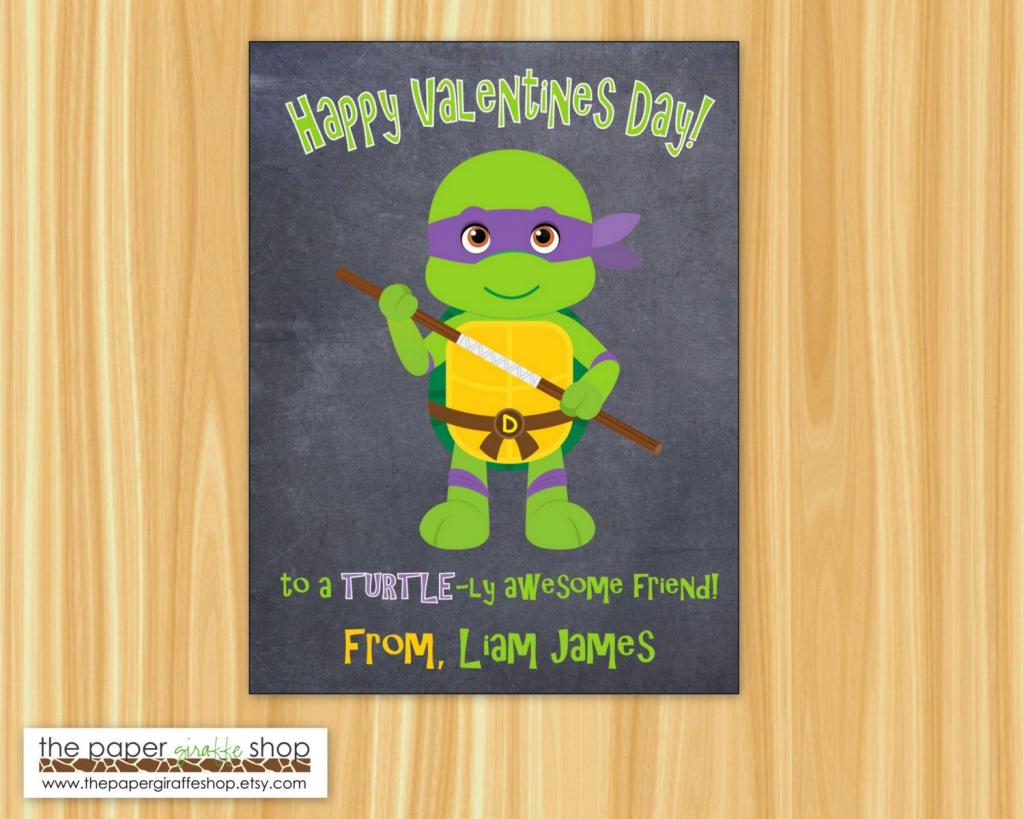 Superhero Valentine Day Card For Kids | Valentines Day Classroom | Teenage Mutant Ninja Turtles Printable Valentines Day Cards