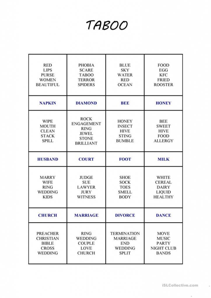 Taboo Card Game 2 Worksheet - Free Esl Printable Worksheets Made | Printable Taboo Cards Download