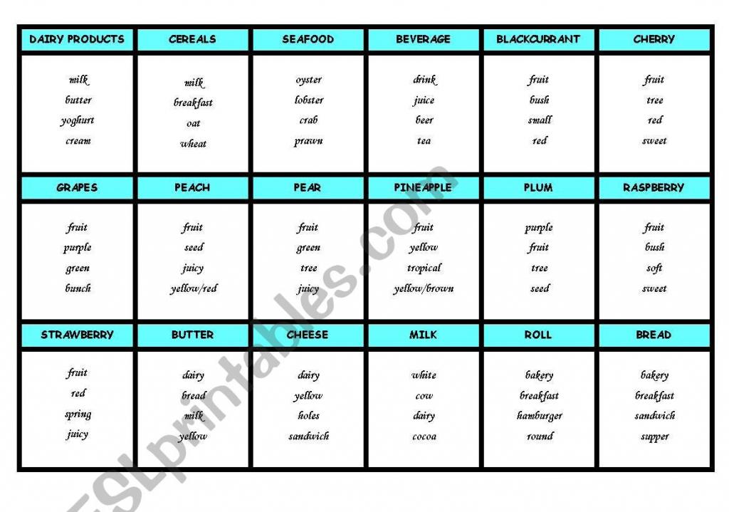 Taboo Cards - Food - Esl Worksheetthe Globe | Printable Taboo Cards Download
