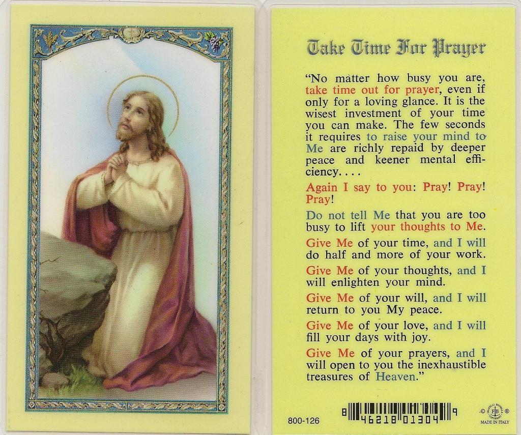 Take Time For Prayer | Printable Catholic Prayer Cards