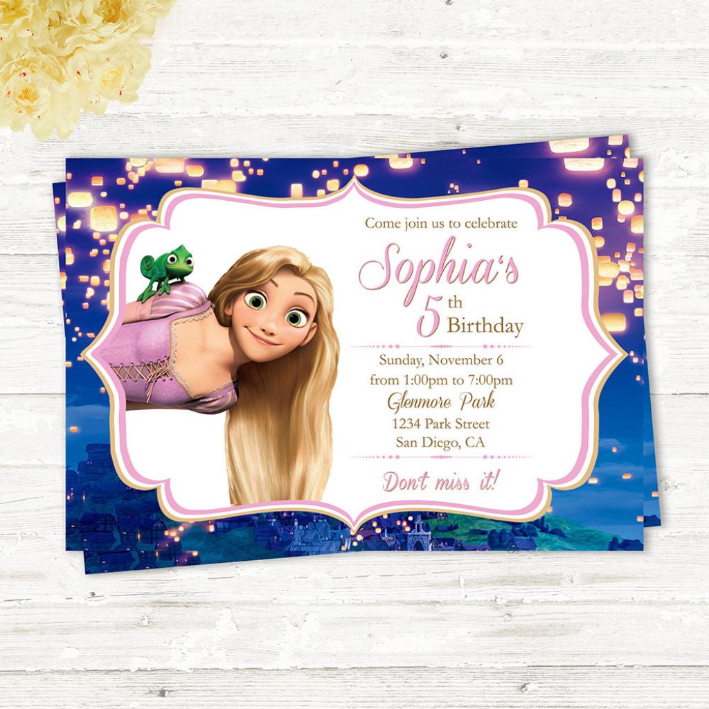 Tangled Rapunzel Printable Birthday Card Tangled Invitation | Etsy | Printable Rapunzel Birthday Card