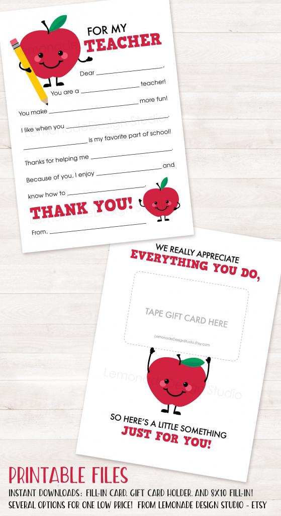 Teacher Appreciation Gift Printable Teacher Thank You Card End Of | Printable National Teacher Appreciation Week Cards