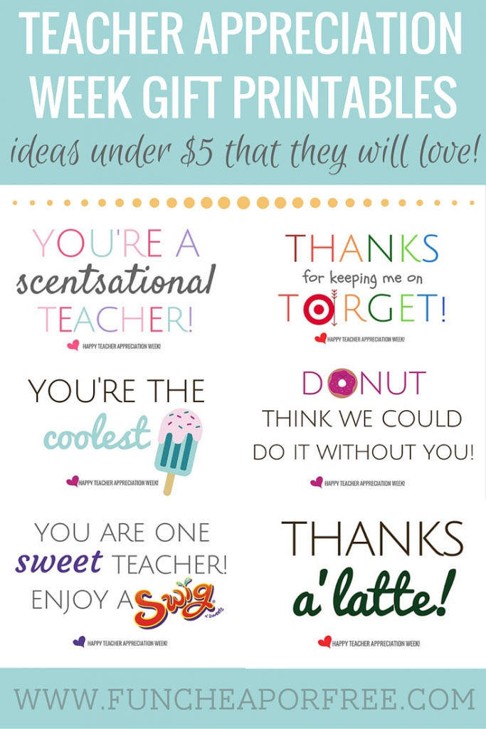 Teacher Appreciation Printables - Gifts Under $5! - Fun Cheap Or Free   Free Printable Teacher Appreciation Cards To Color
