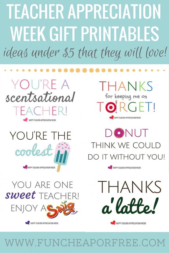 Teacher Appreciation Printables - Gifts Under $5! - Fun Cheap Or Free | Free Teacher Appreciation Week Printable Cards
