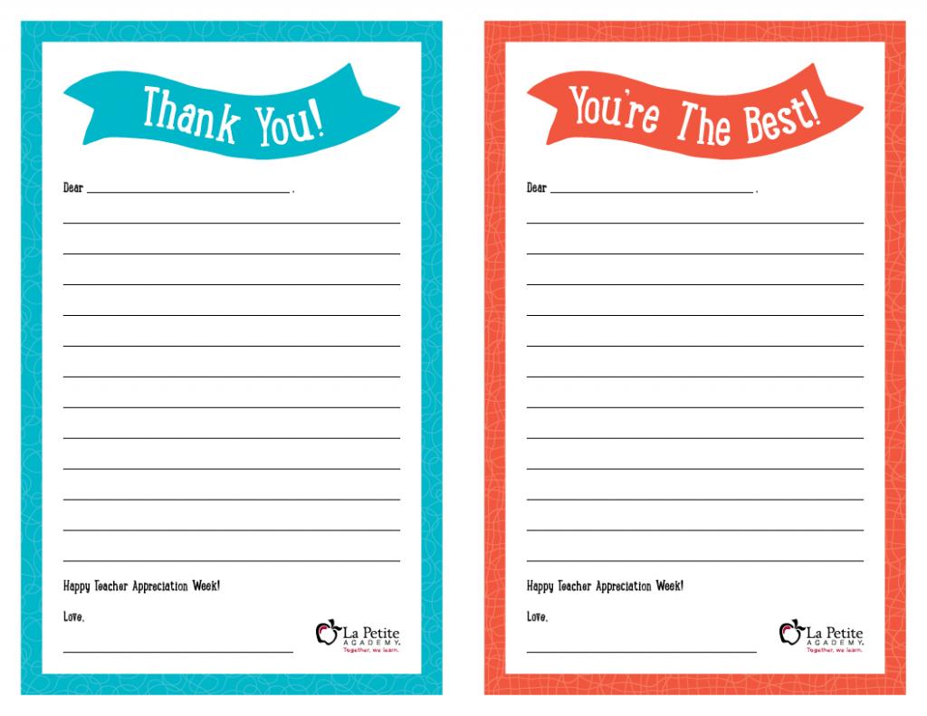 "Teacher Appreciation Week – Free Printable ""Thank You"" Notes | Free Printable Thank You Cards For Teachers"