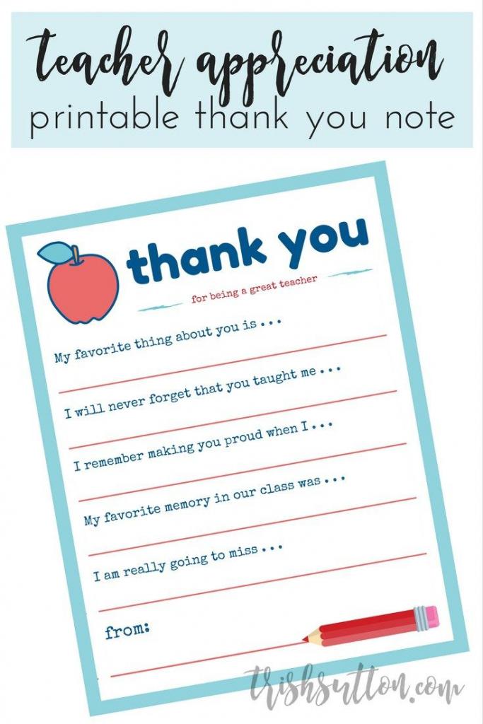 Teacher Appreciation Week Printable Thank You Note | Teacher Gift | Thank You Card To Teacher Printable