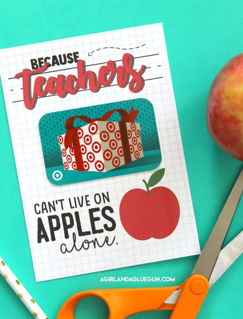 Teacher Gift Card Printable | Teacher Appreciation | Teacher Gifts | Printable National Teacher Appreciation Week Cards