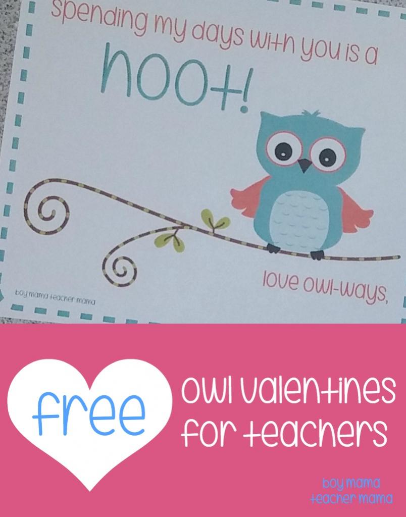 Teacher Mama: Free Printable Owl Valentines For Teachers - Boy Mama | Free Printable Owl Valentine Cards