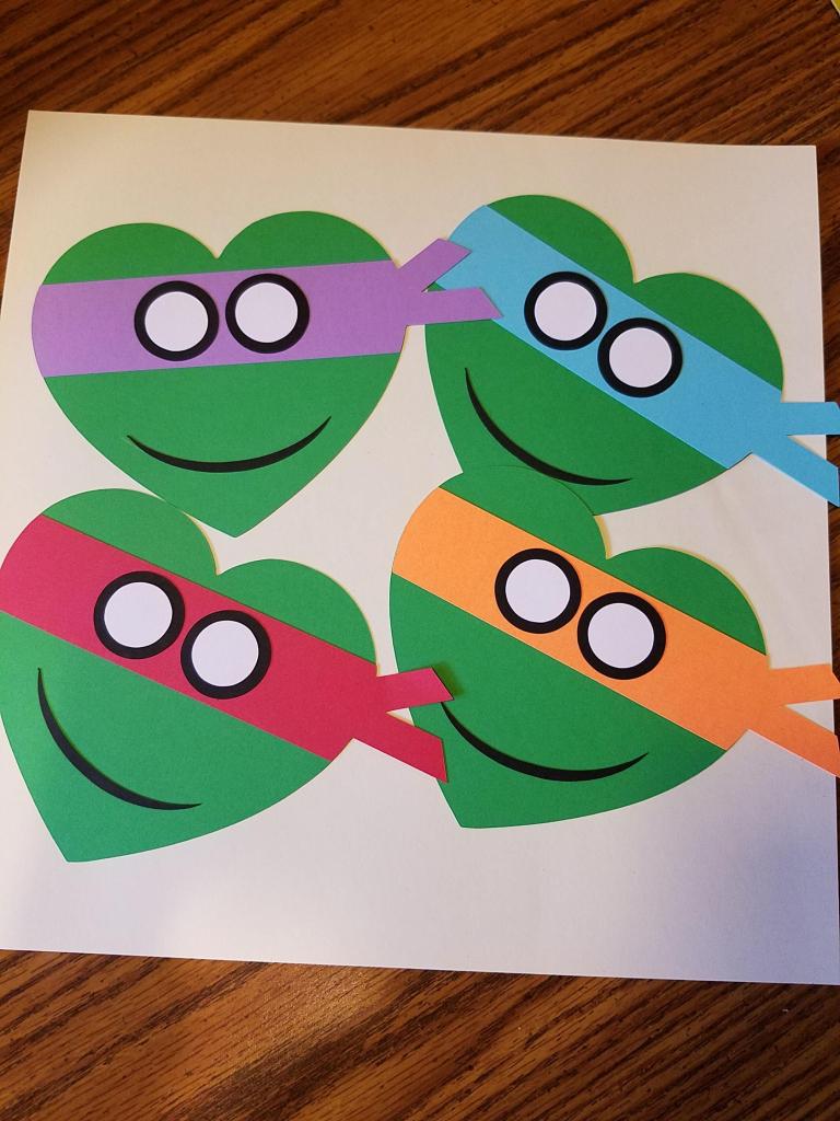 Teenage Mutant Ninja Turtles - Kids Valentine's Day Cards - Heart | Teenage Mutant Ninja Turtles Printable Valentines Day Cards