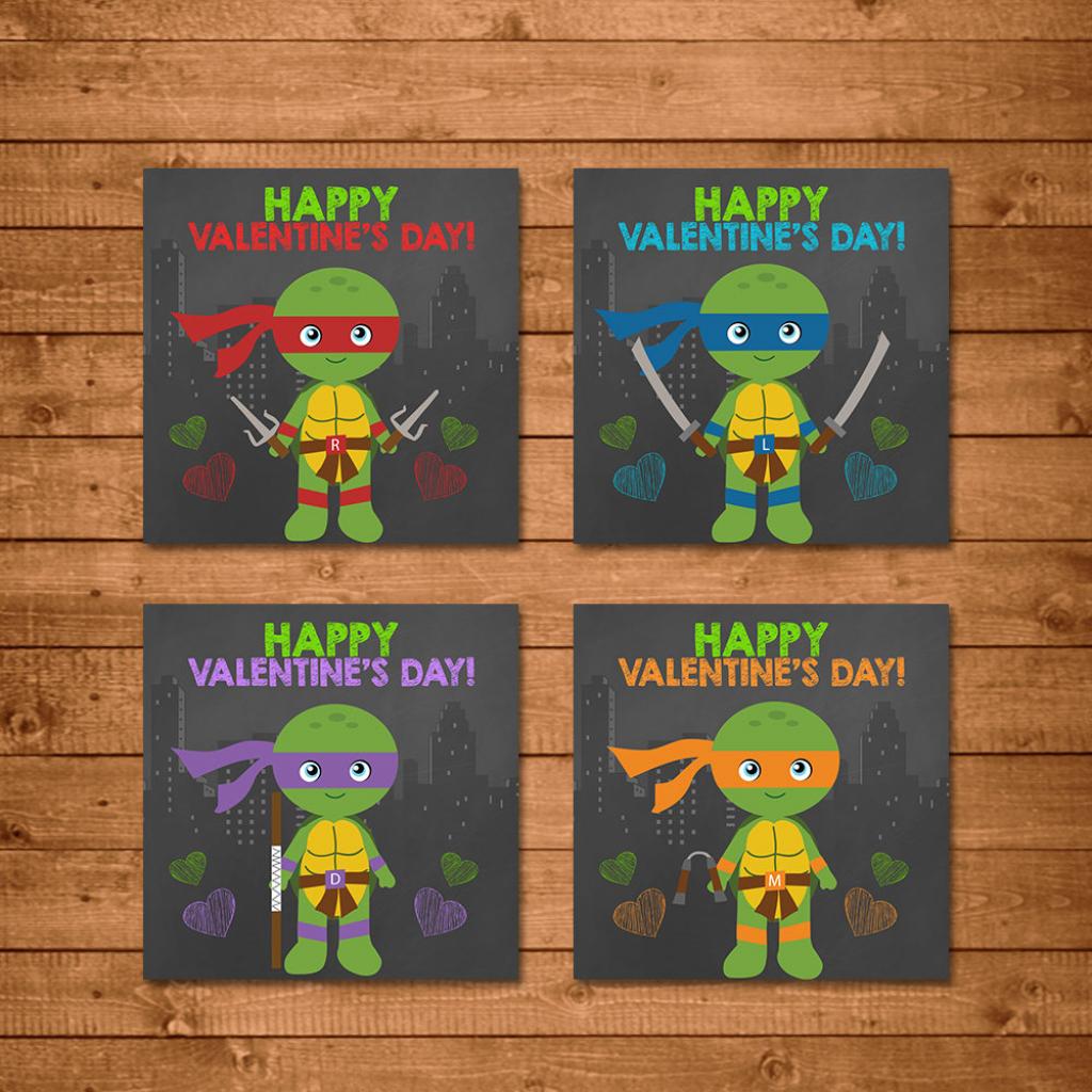Teenage Mutant Ninja Turtles Valentine's Day Cards Ninja | Etsy | Teenage Mutant Ninja Turtles Printable Valentines Day Cards
