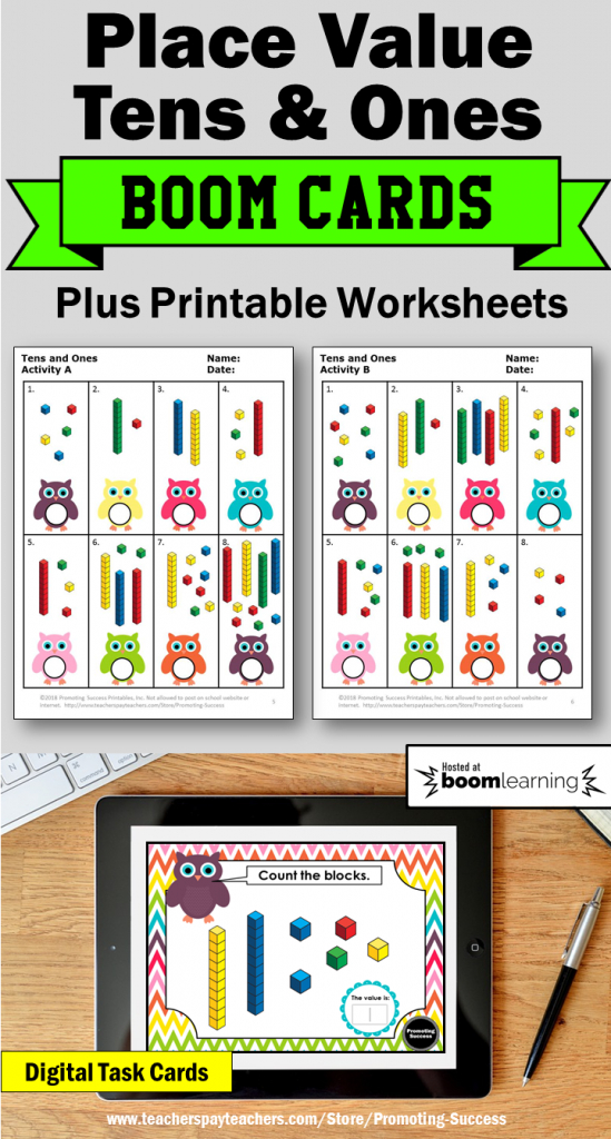 Tens And Ones Activities: You Will Receive 30 Boom Learning Cards   Base Ten Picture Cards Printable