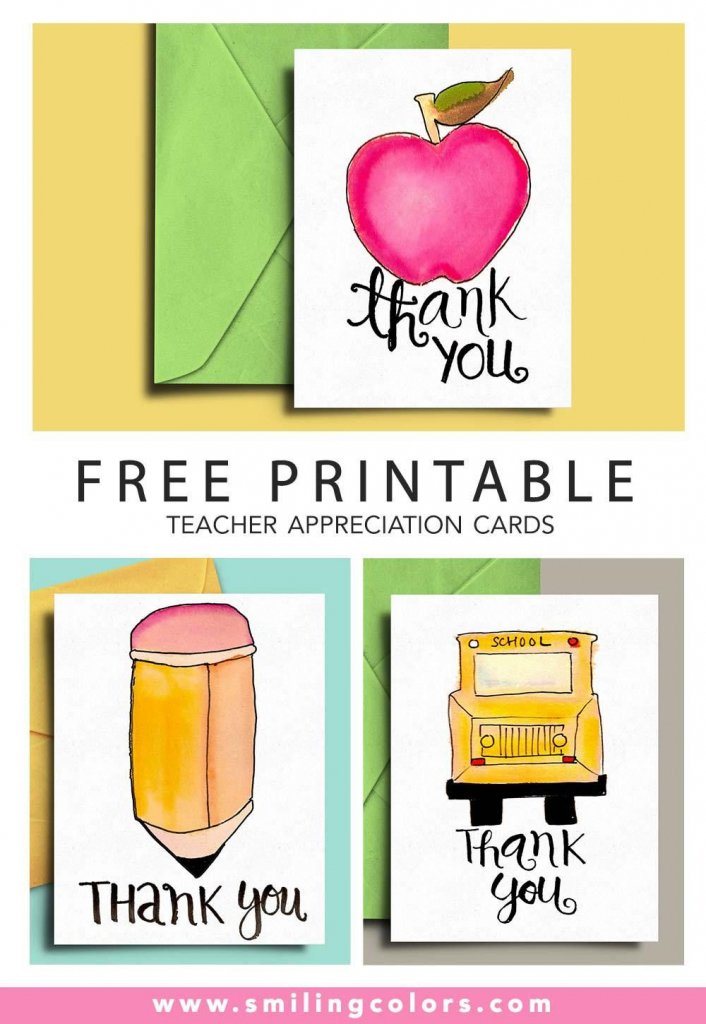 Thank You Card For Teacher And School Bus Driver With Free | Printable Teacher Appreciation Cards