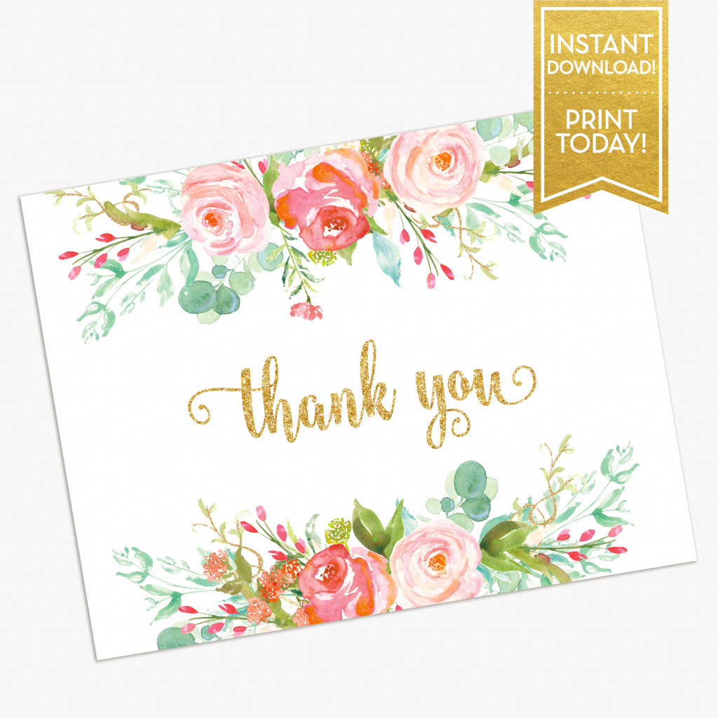 Thank You Card Printable Bridal Shower Thank You Card   Etsy   Printable Bridal Shower Card