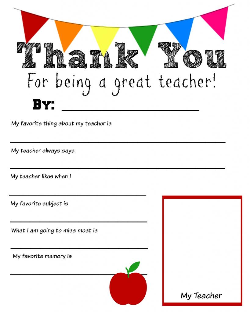 Thank You Teacher Free Printable | School Days | Teacher | Printable Thank You Cards For Teachers