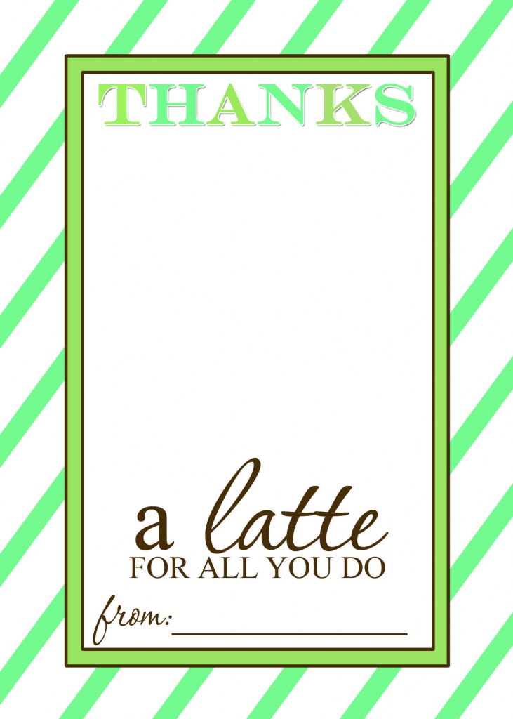 Thanks A Latte Free Printable Gift Card Holder Teacher Gift | Craft | Thanks A Latte Free Printable Card