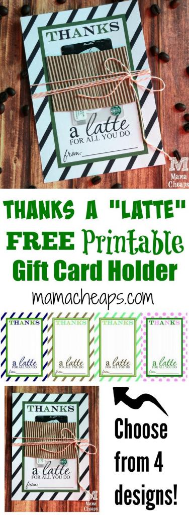 Thanks A Latte Free Printable Gift Card Holder Teacher Gift | Diy | Thanks A Latte Free Printable Card