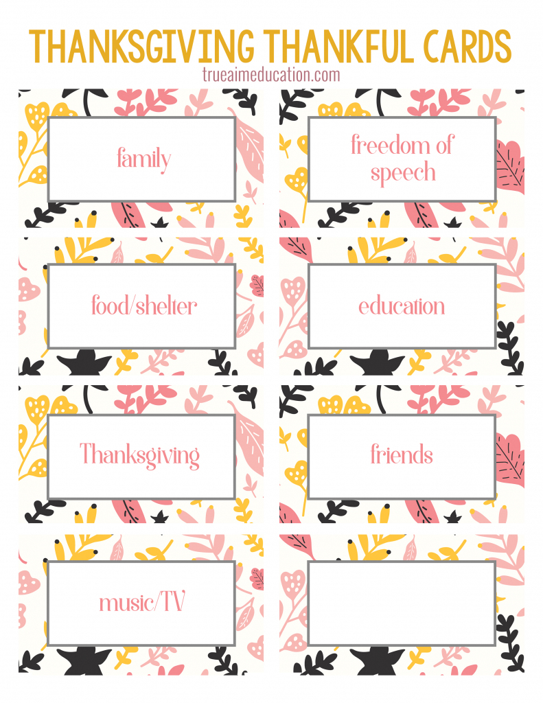 Thanksgiving Thankfulness With Free Printable Cards | Free Printable Picture Cards
