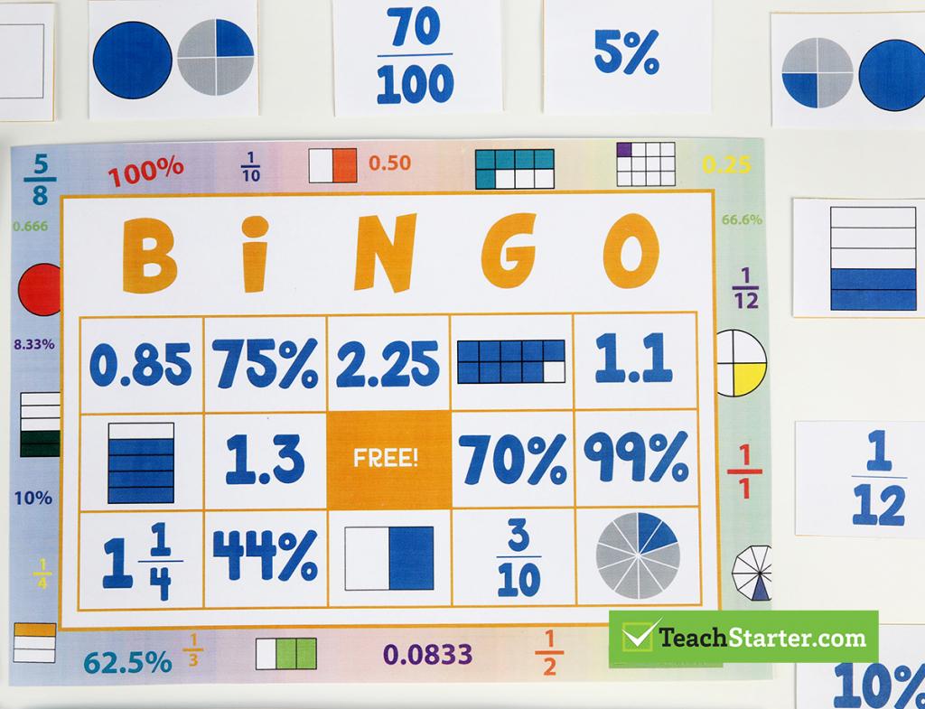 The 10 Best Primary School Classroom Bingo Games!   Fraction Bingo Cards Printable Free