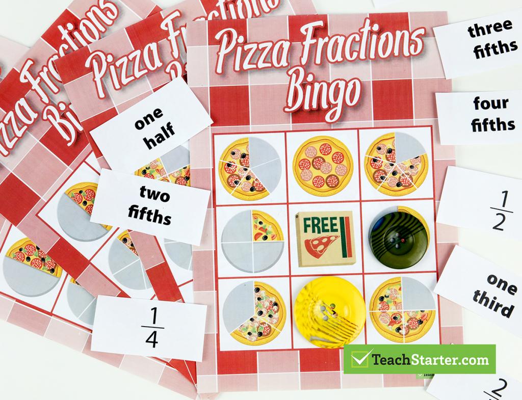 The 10 Best Primary School Classroom Bingo Games! - Fraction Bingo   Fraction Bingo Cards Printable Free