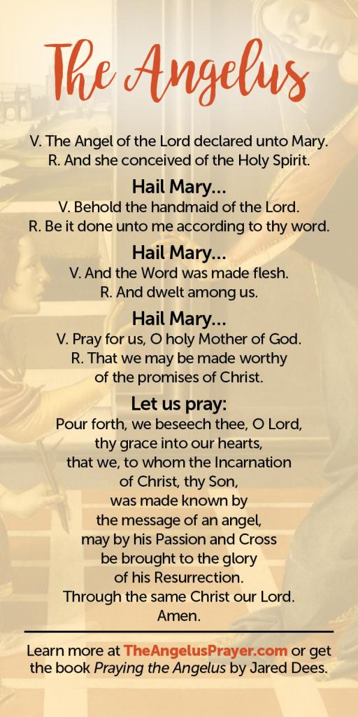 The Angelus Prayer Card | The Angelus Prayer | Angelus Prayer Card Printable