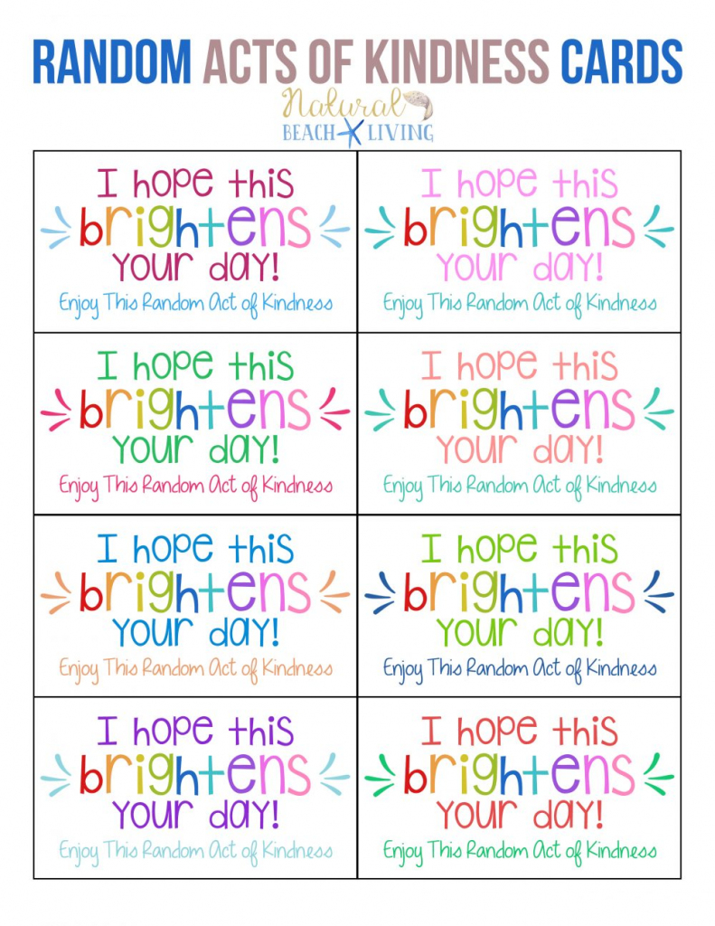 The Best Random Acts Of Kindness Printable Cards Free - Natural | Printable Compliment Cards For Students
