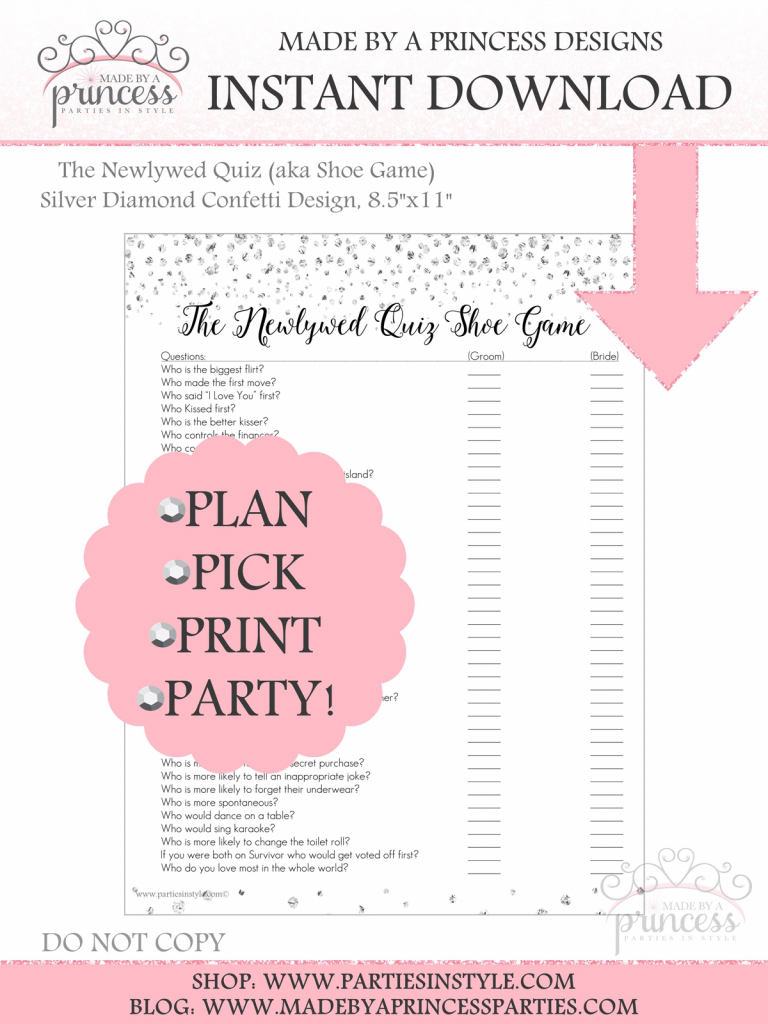 The Newlywed Game Aka Shoe Game Bridal Shower Game Wedding | Printable Newlywed Game Cards
