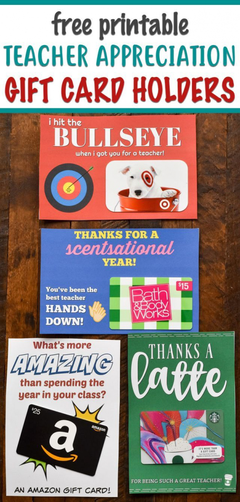These Free Printable Gift Card Holders Are Perfect For Teacher | Teacher Appreciation Gift Card Holder Printable