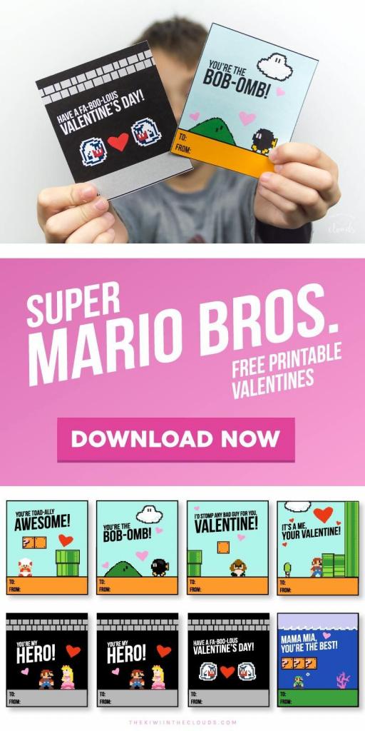 These Super Mario Valentines Printables Are Guarenteed To Be The | Printable Mario Valentines Cards