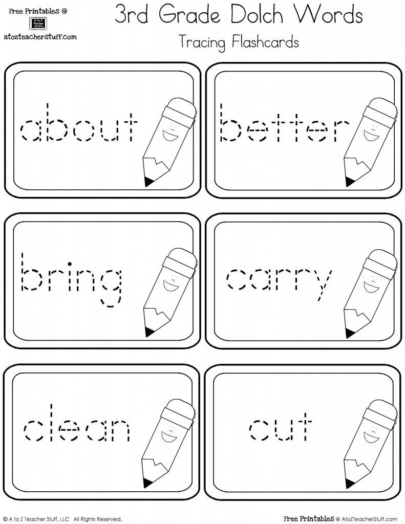Third Grade Dolch Sight Words Tracing Flashcards | A To Z Teacher | Sight Words Flash Cards Printable