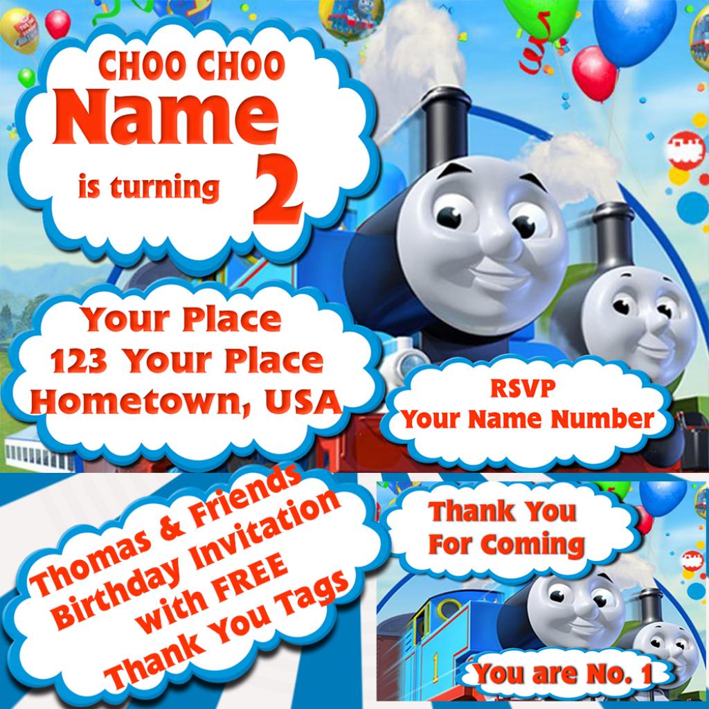 Thomas & Friends - Kids Birthday Invitation With Free Thank You Tags | Thomas Thank You Cards Printable