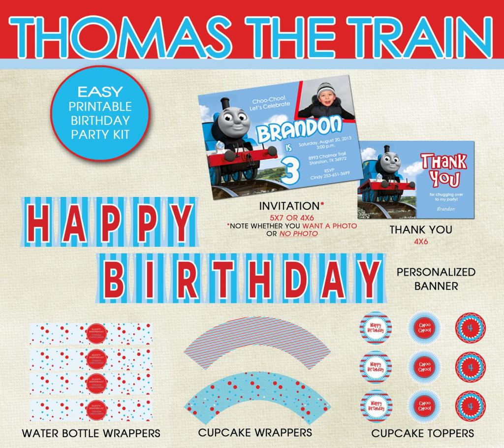 Thomas The Train Birthday Party Printable Kit - Invitation, Thank | Thomas Thank You Cards Printable