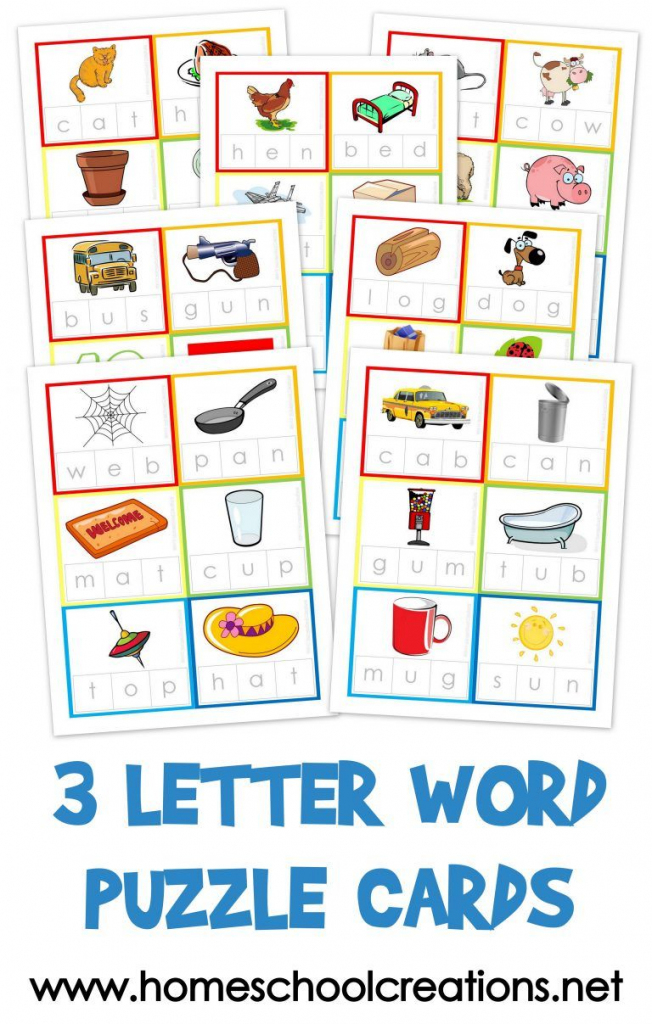 Three Letter Word Cards ~ Free Printable   Kindergarten Stuff   3   Free Printable Rhyming Words Flash Cards