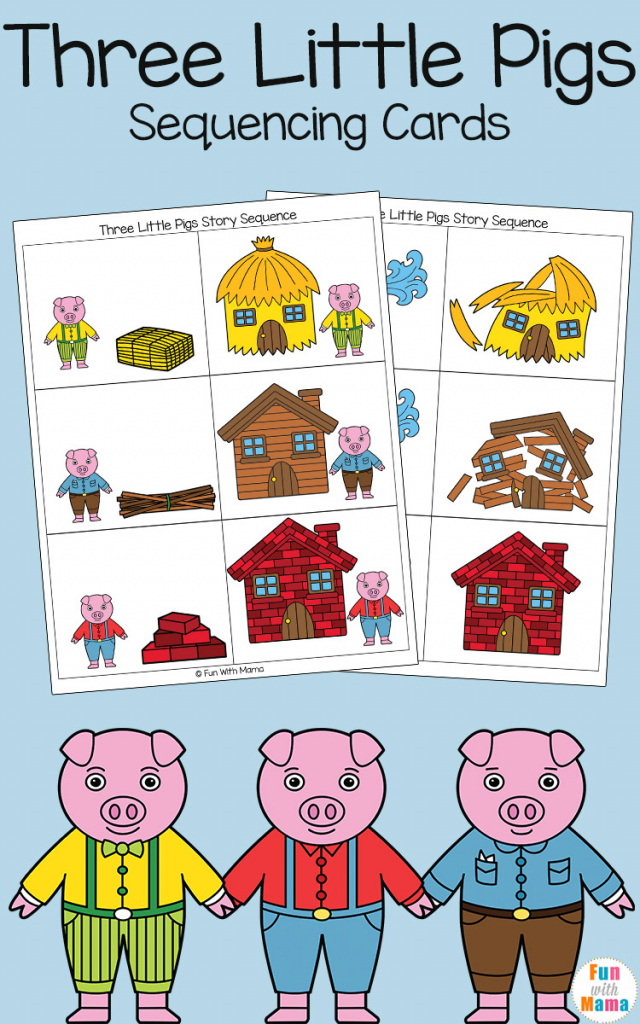 Three Little Pigs Sequencing Cards - Fun With Mama | Printable Sequencing Cards For First Grade