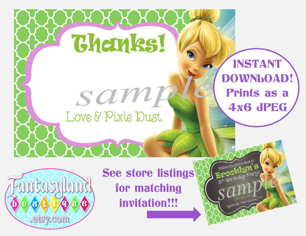 Tinkerbell Inspired Thank You Notes Fairy Party Party | Etsy | Printable Tinkerbell Thank You Cards
