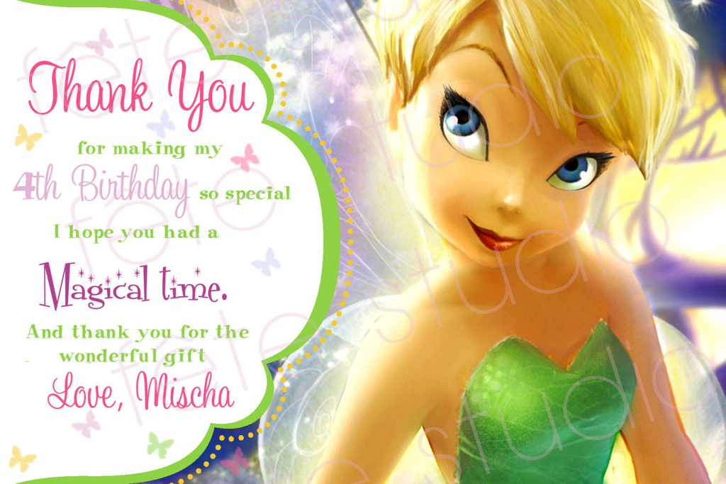 Tinkerbell Pixie Hollow Thank You Card. $8.00, Via Etsy. | Fairy | Printable Tinkerbell Thank You Cards