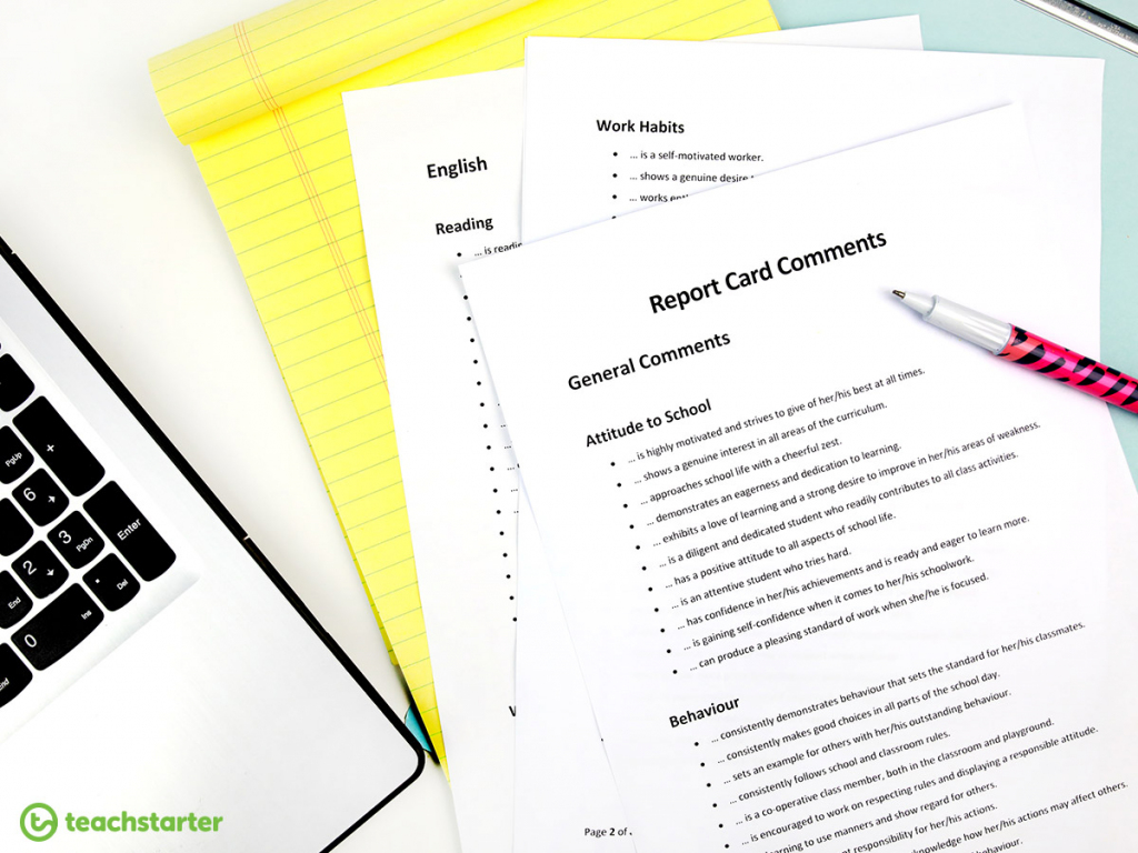 Tips And Ideas To Make Writing Report Card Comments Easier.   Free Printable Report Card Comments