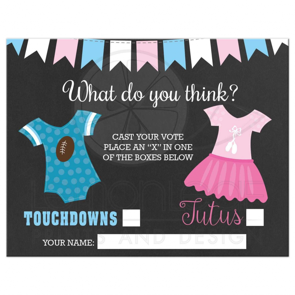 Touchdowns Or Tutus Gender Reveal Baby Shower Voting Ballot | Baby | Printable Gender Reveal Voting Cards