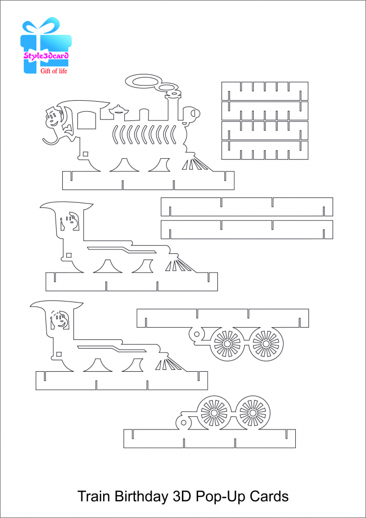 Train Pop Up Birthday Card/kirigami Pattern 2 | Card- Techniques And | Free Printable Kirigami Pop Up Card Patterns