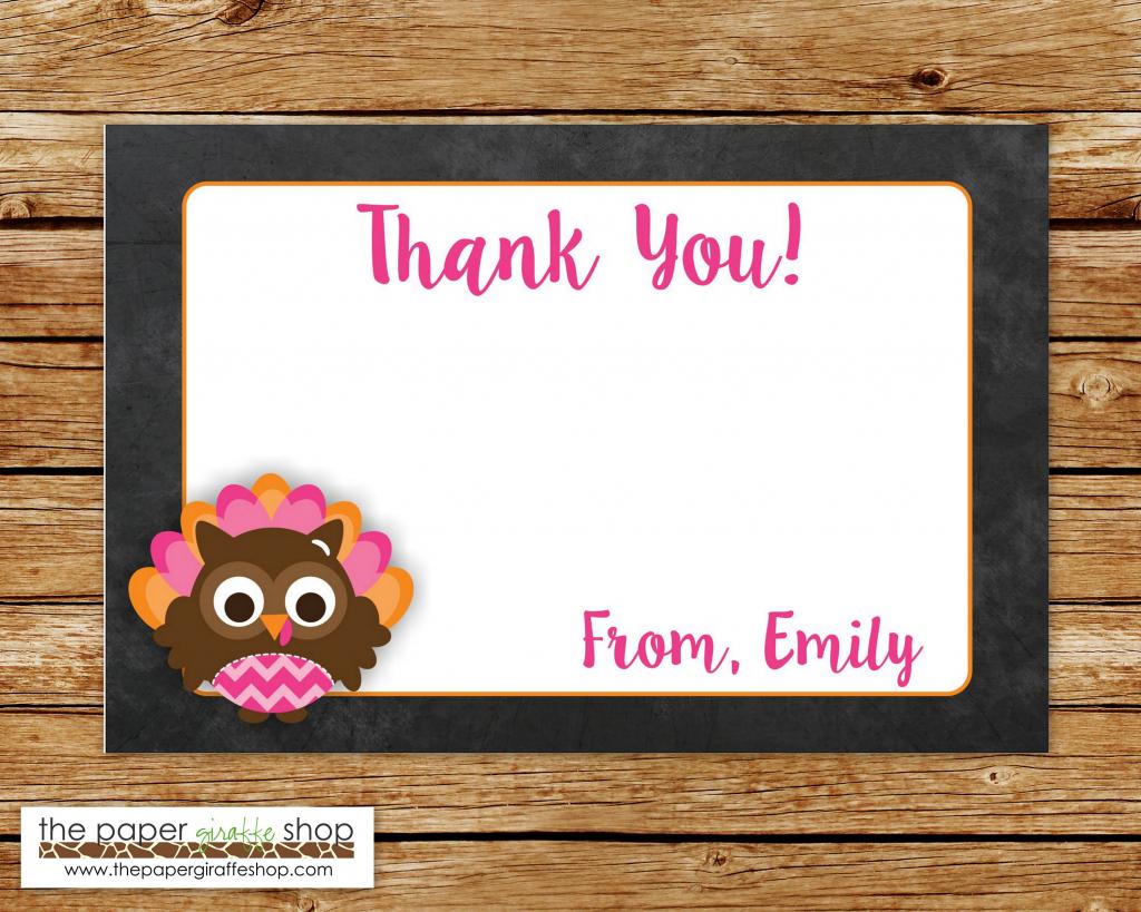 Turkey Thank You Card Pink And Orange Owl Turkey Thank You | Etsy | Printable Tinkerbell Thank You Cards