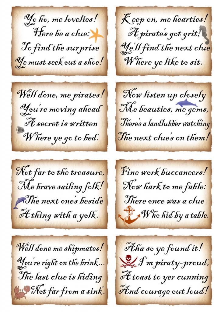 Two Treasure Hunts – Pirates And Mermaids | Rooftop Post Printables | Treasure Hunt Printable Clue Cards
