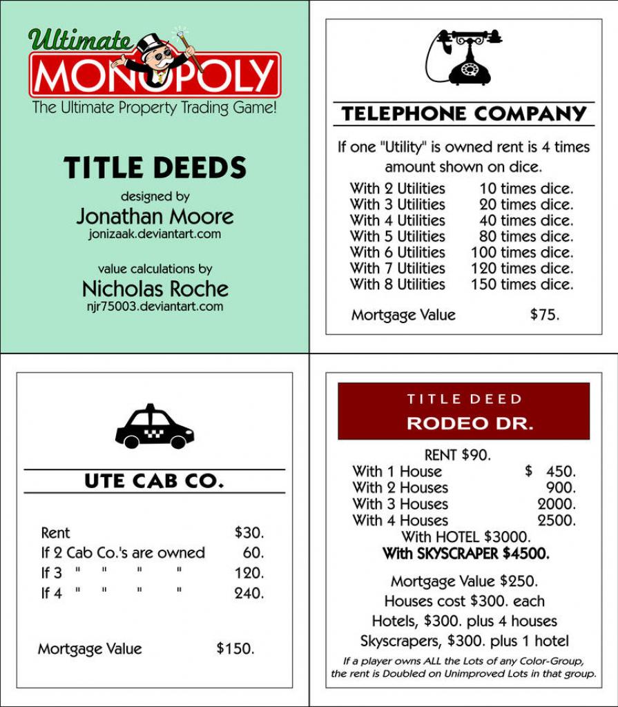 Ultimate Monopoly Title Deeds (Printable)Jonizaak On Deviantart | Printable Monopoly Property Cards