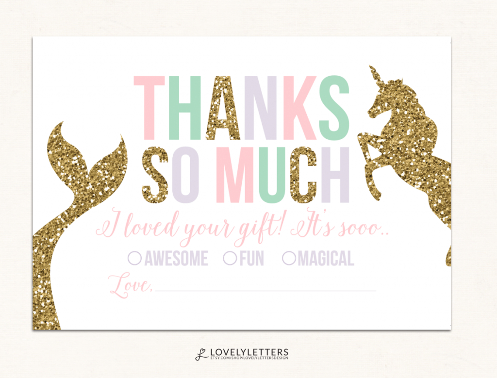 Unicorn Thank You Card / Mermaid Thank You Card / Fill In The Blank | Free Printable Mermaid Thank You Cards