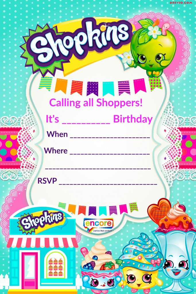 Updated - Free Printable Shopkins Birthday Invitation   Event   Free Printable Shopkins Thank You Cards
