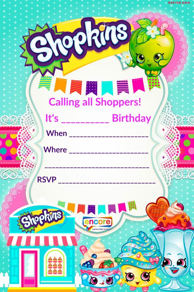 Updated - Free Printable Shopkins Birthday Invitation   Event   Printable Shopkins Birthday Card