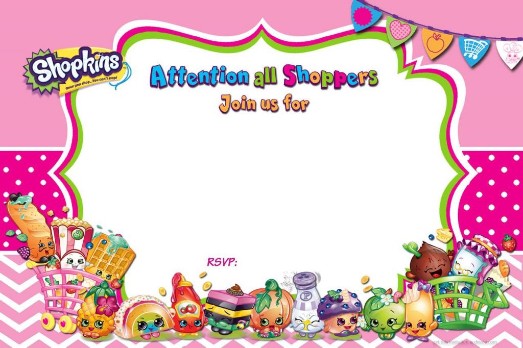 Updated - Free Printable Shopkins Birthday Invitation   Free   Printable Shopkins Birthday Card