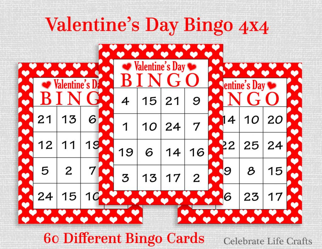 Valentine Bingo Game 60 Printable Valentine's Bingo   Etsy   Printable Valentine Bingo Cards With Numbers